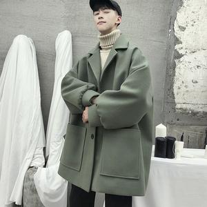 中長款外套男冬季加厚呢子風衣學生ins港風韓版潮流情侶毛呢大衣