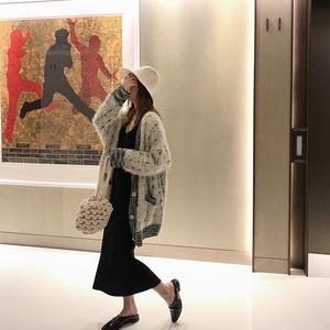 夏诗文定制 秋冬针织开衫女长袖v领中长款宽松毛衣外套外穿慵懒风