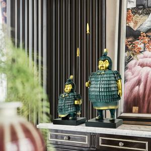 创意新中式摆件家居饰品复古兵马俑客厅办公室电视柜酒柜装饰品