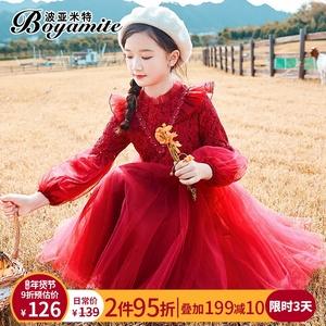 女童连衣裙秋冬2019新款儿童装加绒加厚公主裙中大童洋气红色裙子