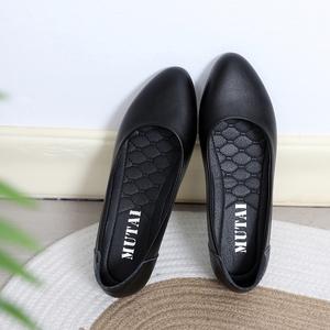 工作鞋女黑色平底皮鞋空姐酒店上班鞋春軟底淺口職業工裝面試單鞋