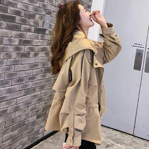 时尚大气胖mm收腰显瘦初秋外套女2019新款韩版宽松大码短款女风衣