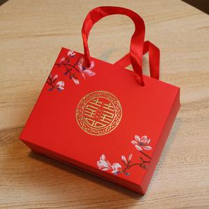 大号结婚喜糖盒抽屉式喜糖盒红色喜字喜糖盒结婚礼盒伴手礼手折
