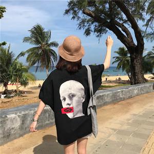 夏季女装韩版港味宽松百搭后背复古头像中长款须边马甲短袖外套潮