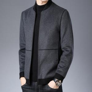 男士妮子外套中款羊絨大衣短款毛呢子褂呢絨夾克土春季2020年新款