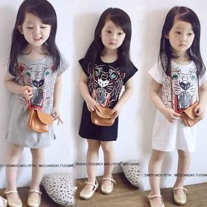 女童黑色T恤夏薄款2-7岁女宝宝韩版连衣裙中长款裙子睡衣外穿睡裙