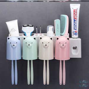 衛生間雙人挂牆式牙刷杯牙刷台面置物架擺放粘貼式個性懶人家庭裝