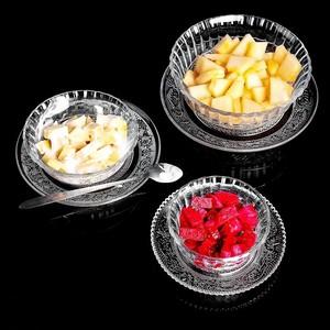 精致大号大碗酒店好看盖碗碗架盘子透明食堂玻璃碗家用耐热水果捞