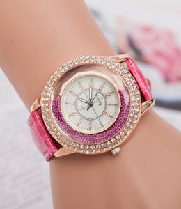 欧美款流沙珍珠镶钻女士 石英休闲手表 韩版复古潮流国产腕表37mm