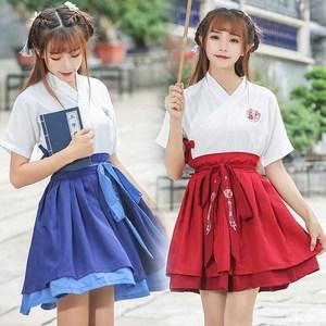 改良汉服女夏日常短袖招财猫汉服绣花交领短裙古装汉元素学生套装