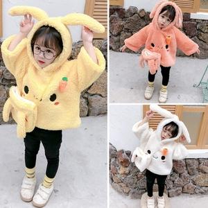 女童加厚衛衣秋冬洋氣童裝寶寶羊羔絨毛毛衣連帽兒童加絨保暖上衣