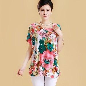 中年韩版棉麻上衣女妇女宽松妈妈夏装洋气老中长款女单件半袖