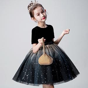 花童禮服女童生日公主裙女孩洋氣蓬蓬紗兒童主持人走秀表演服秋冬