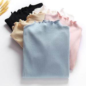 外贸出口尾单剪标女装日本订单余单真品波浪边半高领纯棉打底衫女