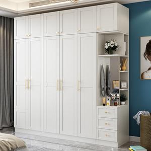衣柜現代簡約出租房白色家用臥室平開門木質三四五六門組裝大衣櫥