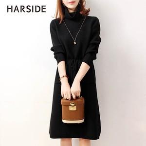HARSIDE 寬松高領打底A字中長裙新款女裝貂絨針織連衣裙加厚冬季