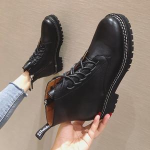 杨冥同款2019秋冬新款女靴英伦风复古系带粗跟短靴ins 真皮马丁靴