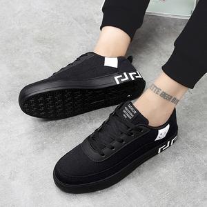 夏季男鞋韩版鞋子男潮鞋学生帆布鞋男百搭板鞋纯色布鞋透气休闲鞋