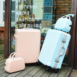 糖果色行李箱網紅女箱子母拉桿箱韓版24鋁框旅行密碼箱男28寸皮箱