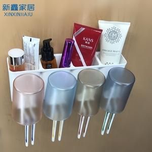 牙刷杯 漱口杯套裝家用壁掛掛墻式免打孔衛生間置物架倒掛 刷牙杯