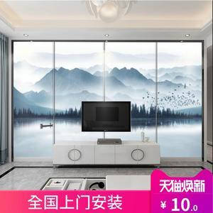 新中式背景墙硬包客厅卧室电视墙壁画意境水墨山水图案定制软包