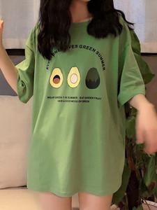 香港潮流夏季2019新款韩版女装牛油果绿网红T恤宽松短袖上衣ins潮