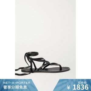 [首降]Isabel Marant 女黑色釘飾皮革平底羅馬涼鞋NET-A-PORTER