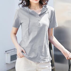 短袖2020純棉白色t恤女夏半袖寬松連帽上衣韓版大碼顯瘦竹節棉潮