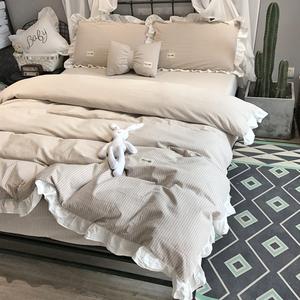 棉水洗棉四件套荷叶边简约公主风棉条纹日式1.8m双人床上用品
