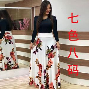 9969wish速賣通秋熱賣爆版歐美風花朵印花拼色連衣裙長裙長袖女裝