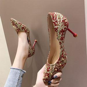 新娘子流行结婚新娘鞋龙凤复古轻巧女士大码高跟鞋新款粗跟细跟20