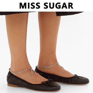 半糖少女/女鞋春夏 百搭新款miu圓頭粗跟單鞋水鉆蝴蝶結芭蕾舞鞋