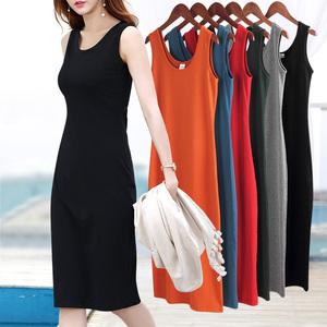 黑色打底連衣裙小黑裙吊帶背心長裙女夏修身顯瘦無袖裙子2020新款