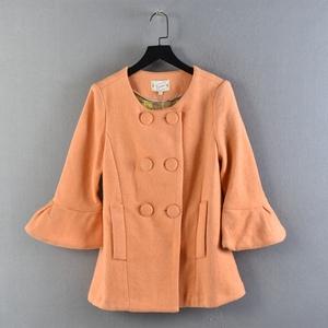 1119秋冬季時尚尾貨白菜價韓版斷碼應季橙色喇叭袖雙排扣短外套