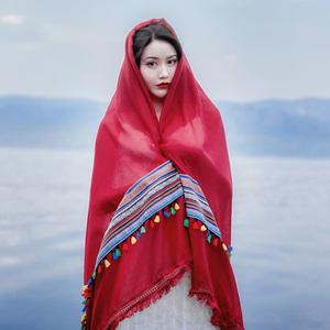丝巾女春夏季沙漠旅游防晒披肩民族风茶卡盐湖围巾青海大红色纱巾