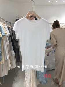 WIDA韓國東大門代購2020年夏季新款簡約純色修身顯瘦打底短袖T恤