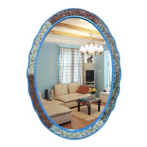地中海浴室镜椭圆镜子蓝色圆镜卫生间浴室镜化妆镜玄关镜客厅挂镜