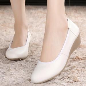 白色護士鞋真皮坡跟牛筋底女護士工作單鞋美容師皮鞋軟底媽媽鞋34
