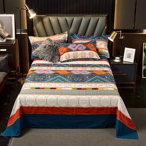 純棉床單單件加厚磨毛秋冬床上用品100%全棉民族風被單子雙人加大