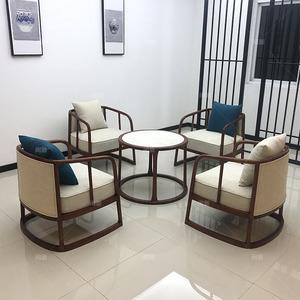 新中式洽谈桌椅现代禅意实木单人圆桌休闲组合售楼处会所酒店家具