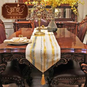 羽罗 北欧条纹餐桌桌旗现代简约欧式几何清新茶几旗布艺桌布床旗