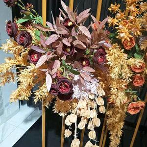 桉樹葉仿真花假葉子綠植長款尤加利葉婚慶裝飾婚禮布景茶花牌道具