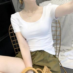 白色t恤女u領短袖低領緊身純棉純色修身2020新款大領口露背上衣夏