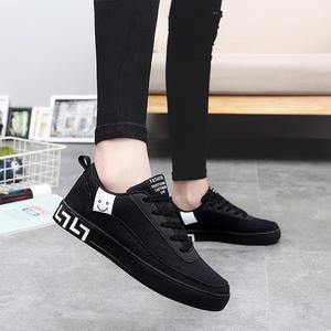 秋季新款黑色帆布鞋女生平底休闲鞋韩版学生运动板鞋潮布鞋女鞋子