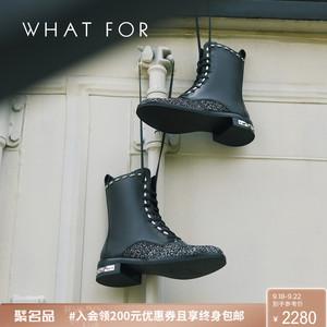 WHAT FOR2019秋冬新款圆头系带铆钉低跟粗跟女短靴短筒靴子马丁靴