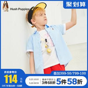 暇步士童裝男童襯衫2020夏裝新款兒童短袖上衣洋氣純棉中大童襯衣