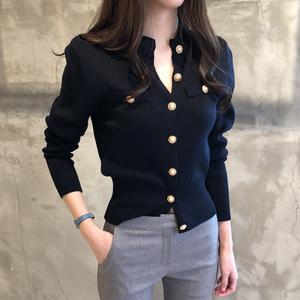 緊身針織開衫女短款厚款修身韓版春秋新款毛衣復古長袖小外套上衣