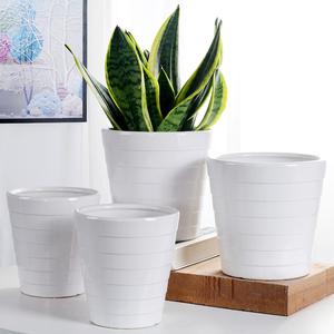 组合花盆陶瓷特价清仓大号绿萝花盆室内外简约白色螺纹透气养根