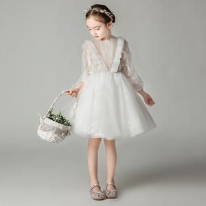 兒童禮服小女孩花童婚禮洋氣公主裙長袖女童白色生日表演出蓬蓬紗