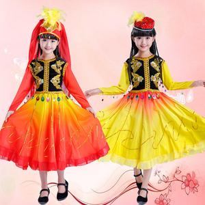 六一儿童民族舞蹈服维吾尔族表演服新疆演出服装女维族舞帽子新款